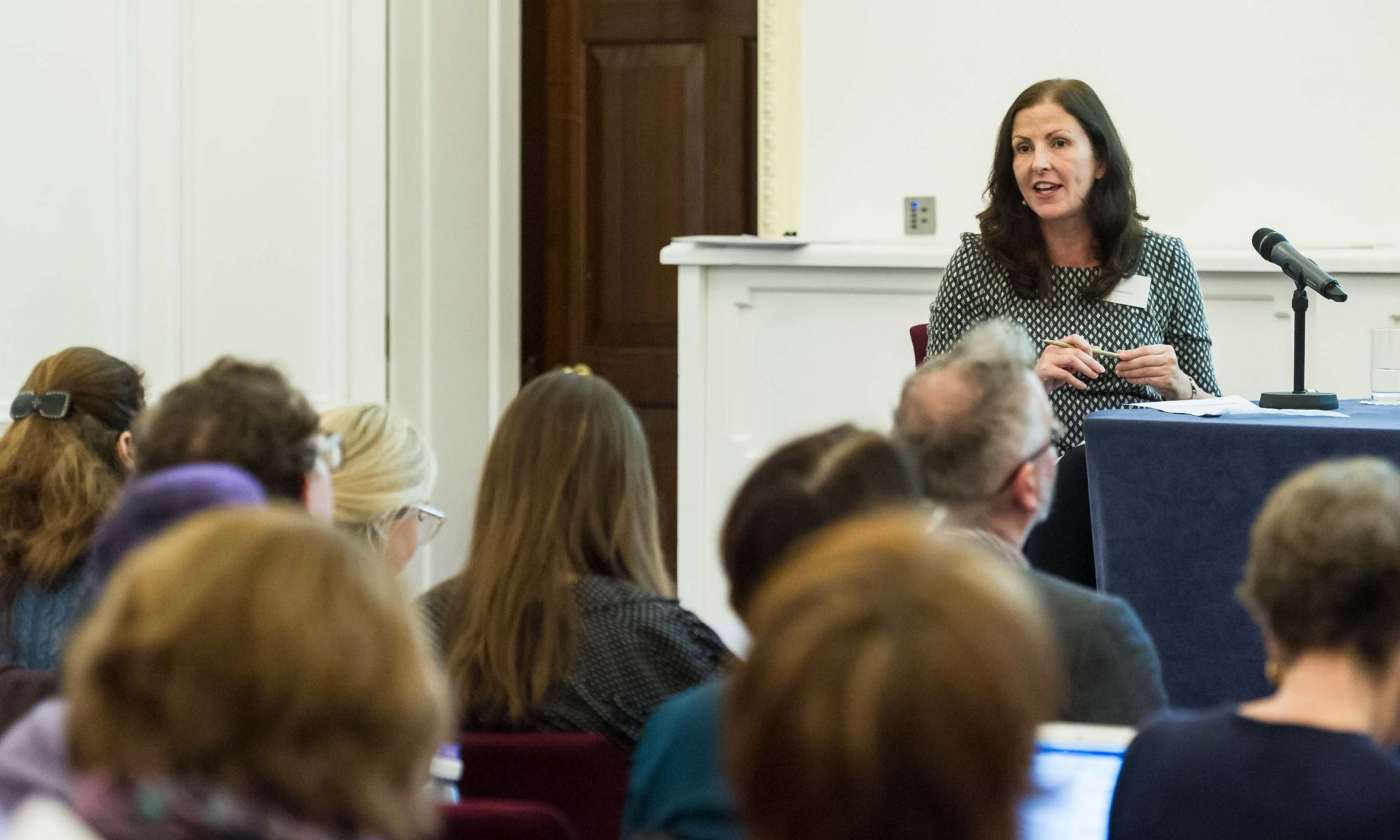 Prof Debbie Foster speaks to an audience at a conference