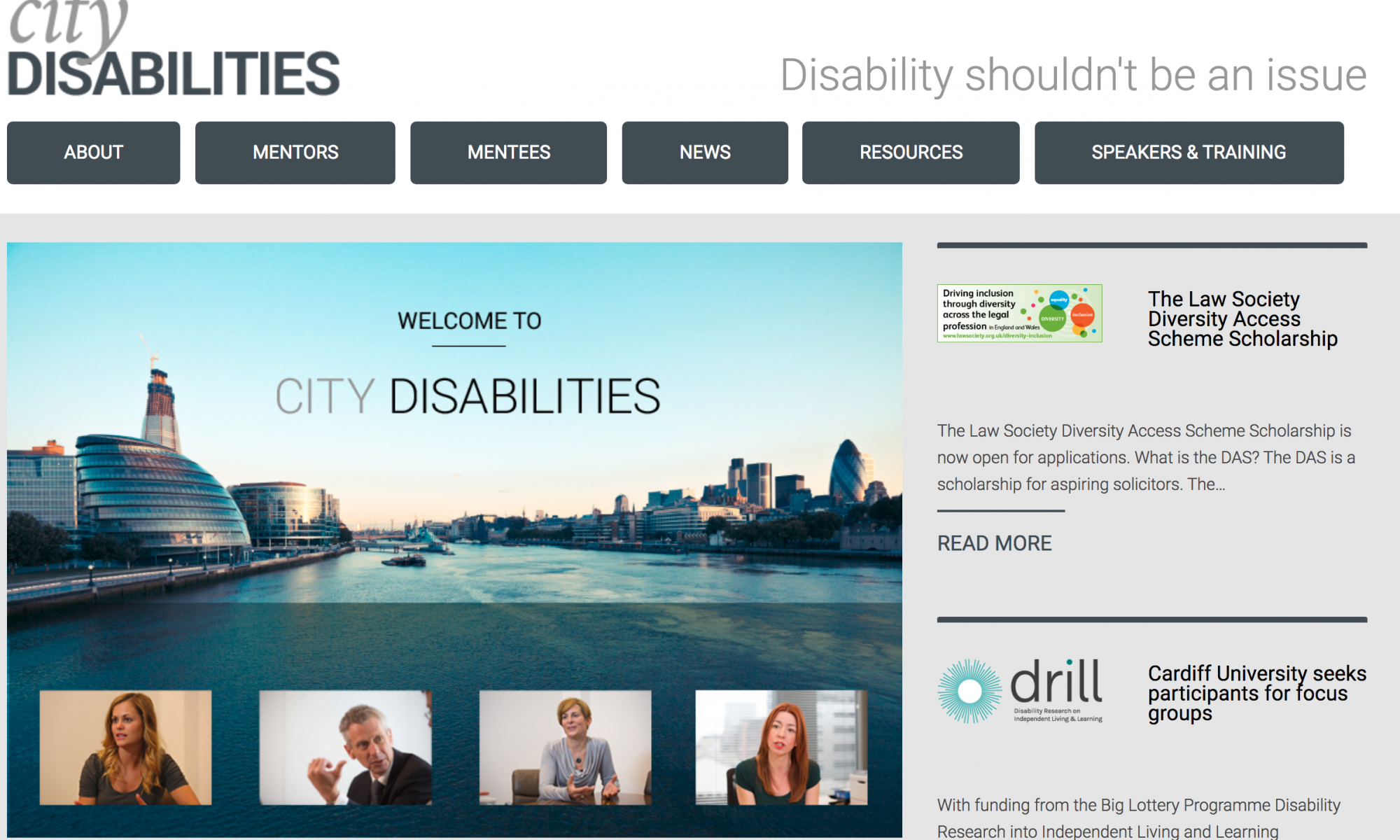 A screenshot of the City Disabilities website homepage