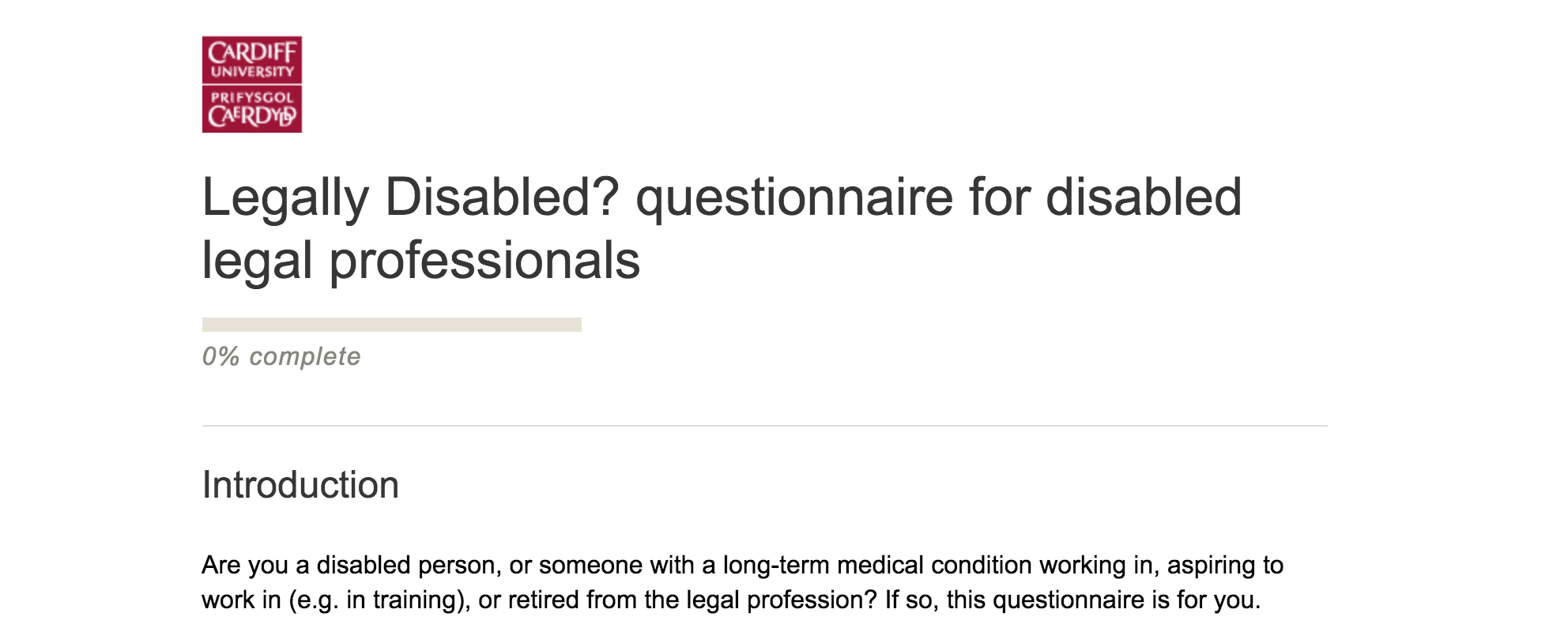 screenshot of the web page for the Legally Disabled questionnaire for solicitors