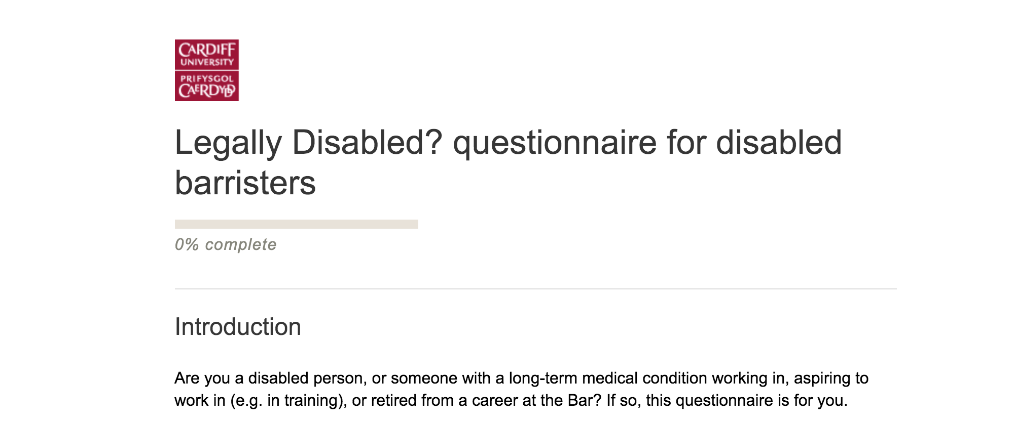 screenshot of the questionnaire for disabled barristers