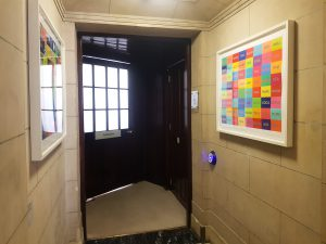 The entrance to the Lee Library where the barristers' workshop is held. This is also the entrace to the small accessible toilet, suitable for most using manual wheelchairs and others with access requirements.