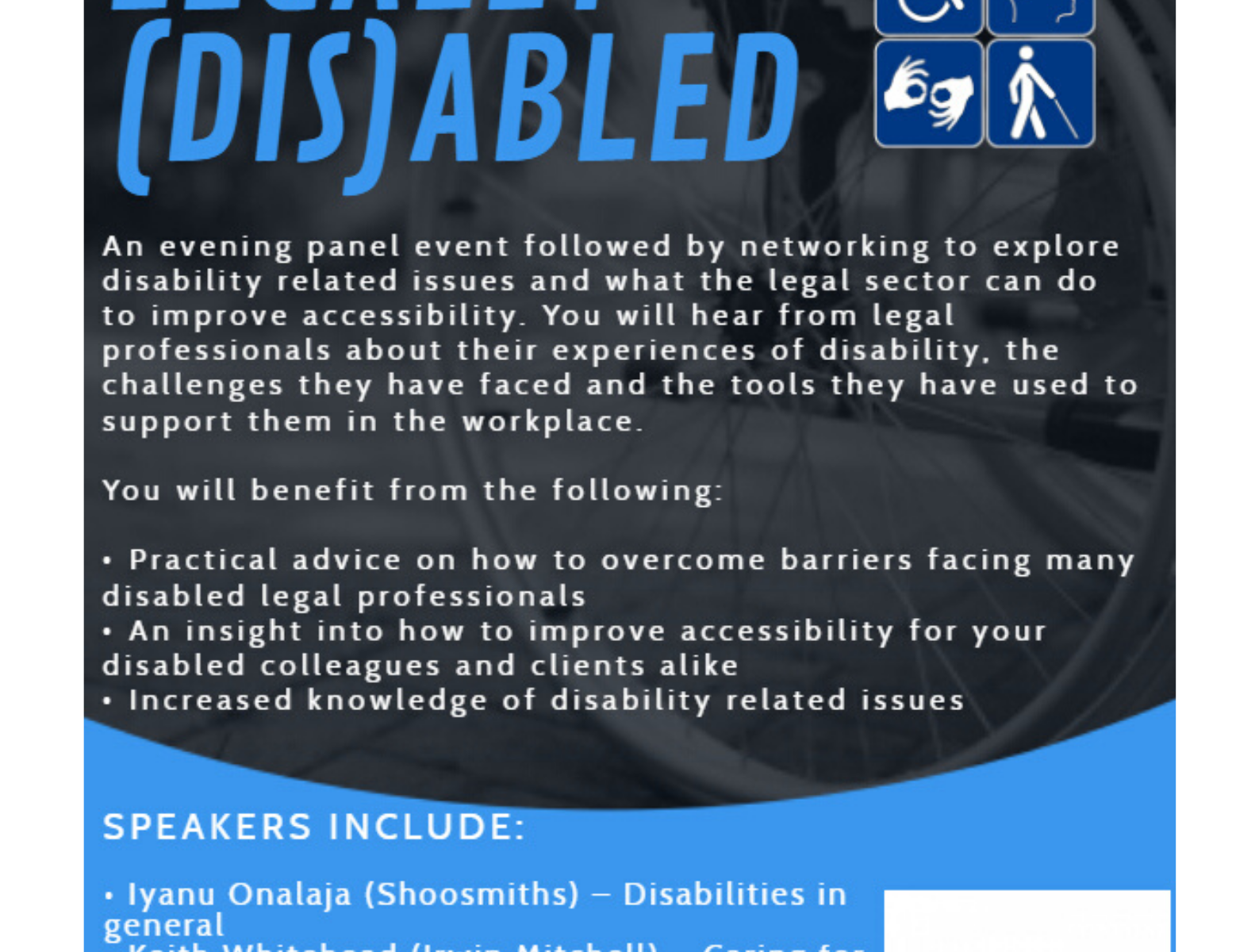 Event poster - inspired by Legally Disabled project - Birmingham Law Society event on disability in the legal profession